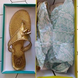 NIB Jack Rogers Gold Sparkle Jelly Size 11